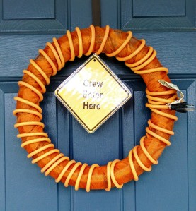 Orange cord wreath