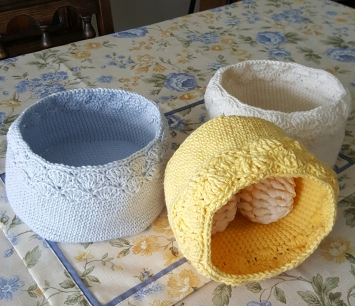 Tri-Set Crochet Bowls Small, Medium and Large sizes Variety of Colors, can be purchased individually Set: $24 Individual: $7