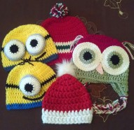 Childrens Hats Soft Acrylic Yarn Machine Washable Variety of Designs $15 Each