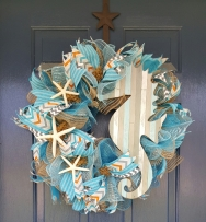 "Seashore 16"" Frame Deco Mesh Wreath $80"