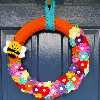 "Spring Wreath 16"" hand crocheted $55"