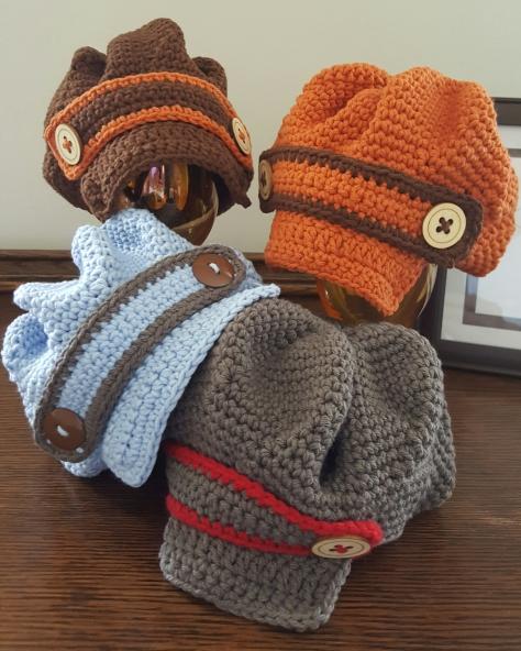 Newboy Crochet Hat Newborn size only 50/50 Cotton/Acrylic yarn $15